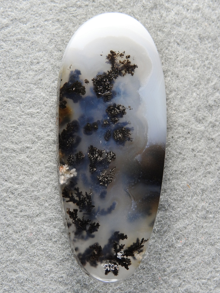 Singleton Plume Agate 1548 : Another very long ellipse of wonderful plumes in a salt and pepper cab.