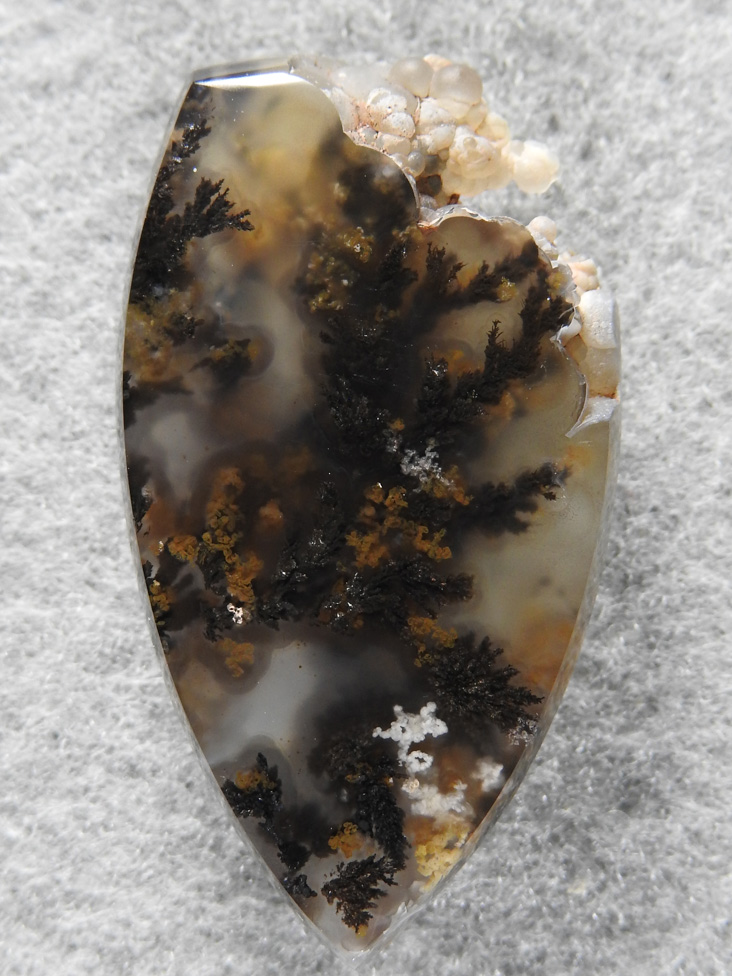 Singleton Plume Agate 1569 : I left the upper right natural to show the bubbly in this pretty Singleton Plume Agate.